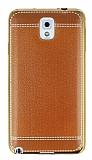 Eiroo Retro Look Samsung N9000 Galaxy Note 3 Kahverengi Silikon Kılıf