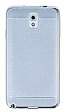 Samsung N9000 Galaxy Note 3 Dikiş İzli Silver Silikon Kılıf