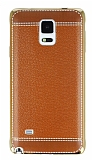 Eiroo Retro Look Samsung N9100 Galaxy Note 4 Kahverengi Silikon K�l�f