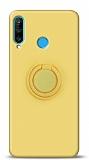 Eiroo Ring Color Huawei P30 Lite Yüzük Tutuculu Sarı Silikon Kılıf