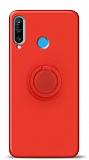 Eiroo Ring Color Huawei P30 Lite Yüzük Tutuculu Kırmızı Silikon Kılıf