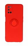 Eiroo Ring Color Oppo A92 Yüzüklü Kırmızı Silikon Kılıf