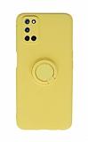 Eiroo Ring Color Oppo A92 Yüzüklü Sarı Silikon Kılıf