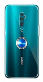Eiroo Ring Crystal Oppo Reno 10x zoom Yüzüklü Mavi Silikon Kılıf