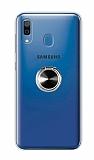 Eiroo Ring Color Samsung Galaxy A20 Yüzüklü Siyah Silikon Kılıf