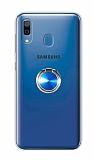 Eiroo Ring Color Samsung Galaxy A20 Yüzüklü Mavi Silikon Kılıf