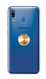Eiroo Ring Color Samsung Galaxy A20 Yüzüklü Gold Silikon Kılıf