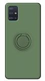 Eiroo Ring Color Samsung Galaxy A51 Yüzük Tutuculu Koyu Yeşil Silikon Kılıf