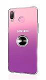 Eiroo Ring Color Samsung Galaxy A6s Yüzüklü Siyah Silikon Kılıf