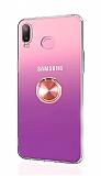 Eiroo Ring Color Samsung Galaxy A6s Yüzüklü Rose Gold Silikon Kılıf