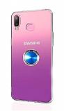 Eiroo Ring Color Samsung Galaxy A6s Yüzüklü Mavi Silikon Kılıf