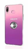 Eiroo Ring Color Samsung Galaxy A6s Yüzüklü Silver Silikon Kılıf