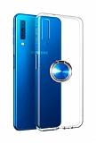 Eiroo Ring Crystal Samsung Galaxy A7 2018 Yüzüklü Mavi Silikon Kılıf