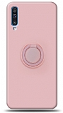 Eiroo Ring Color Samsung Galaxy A70 Yüzük Tutuculu Açık Pembe Silikon Kılıf
