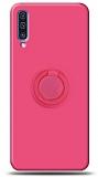 Eiroo Ring Color Samsung Galaxy A70 Yüzük Tutuculu Pembe Silikon Kılıf