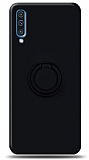 Eiroo Ring Color Samsung Galaxy A70 Yüzük Tutuculu Siyah Silikon Kılıf