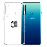 Eiroo Ring Color Samsung Galaxy A9 2018 Yüzüklü Silver Silikon Kılıf