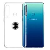 Eiroo Ring Color Samsung Galaxy A9 2018 Yüzüklü Siyah Silikon Kılıf