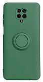 Eiroo Ring Color Xiaomi Redmi Note 9 Pro Yüzük Tutuculu Koyu Yeşil Silikon Kılıf
