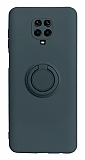 Eiroo Ring Color Xiaomi Redmi Note 9 Pro Yüzük Tutuculu Lacivert Silikon Kılıf