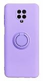 Eiroo Ring Color Xiaomi Redmi Note 9 Pro Yüzük Tutuculu Mor Silikon Kılıf