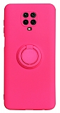 Eiroo Ring Color Xiaomi Redmi Note 9 Pro Yüzük Tutuculu Pembe Silikon Kılıf