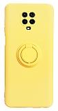 Eiroo Ring Color Xiaomi Redmi Note 9 Pro Yüzük Tutuculu Sarı Silikon Kılıf