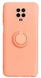 Eiroo Ring Color Xiaomi Redmi Note 9 Pro Yüzük Tutuculu Açık Pembe Silikon Kılıf