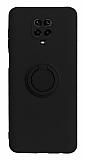 Eiroo Ring Color Xiaomi Redmi Note 9 Pro Yüzük Tutuculu Siyah Silikon Kılıf