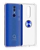 Eiroo Ring Crystal Alcatel 3 2019 Yüzüklü Mavi Silikon Kılıf