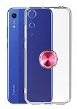 Eiroo Ring Crystal Honor 8A Pembe Yüzüklü Silikon Kılıf