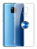 Eiroo Ring Crystal Huawei Mate 20 X Yüzüklü Mavi Silikon Kılıf