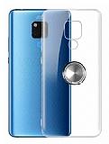 Eiroo Ring Crystal Huawei Mate 20 X Yüzüklü Silver Silikon Kılıf