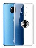 Eiroo Ring Crystal Huawei Mate 20 X Yüzüklü Siyah Silikon Kılıf