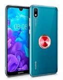 Eiroo Ring Crystal Huawei Y5 2019 Kırmızı Yüzüklü Silikon Kılıf