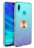 Eiroo Ring Crystal Huawei Y7 2019 Gold Yüzüklü Silikon Kılıf