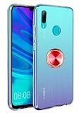Eiroo Ring Crystal Huawei Y7 2019 Kırmızı Yüzüklü Silikon Kılıf