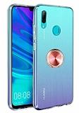 Eiroo Ring Crystal Huawei Y7 2019 Rose Gold Yüzüklü Silikon Kılıf