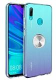 Eiroo Ring Crystal Huawei Y7 2019 Silver Yüzüklü Silikon Kılıf