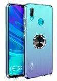 Eiroo Ring Crystal Huawei Y7 2019 Siyah Yüzüklü Silikon Kılıf