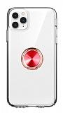 Eiroo Ring Crystal iPhone 11 Pro Max Kırmızı Yüzüklü Silikon Kılıf