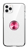 Eiroo Ring Crystal iPhone 11 Pro Max Pembe Yüzüklü Silikon Kılıf