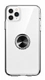 Eiroo Ring Crystal iPhone 11 Pro Max Siyah Yüzüklü Silikon Kılıf