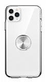 Eiroo Ring Crystal iPhone 11 Pro Max Silver Yüzüklü Silikon Kılıf