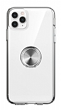 Eiroo Ring Crystal iPhone 11 Pro Max Füme Yüzüklü Silikon Kılıf