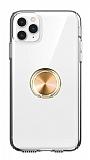 Eiroo Ring Crystal iPhone 11 Pro Max Gold Yüzüklü Silikon Kılıf
