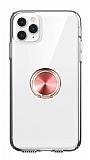 Eiroo Ring Crystal iPhone 11 Pro Max Rose Gold Yüzüklü Silikon Kılıf
