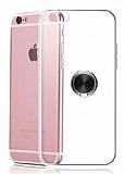 Eiroo Ring Crystal iPhone 6 / 6S Siyah Yüzüklü Silikon Kılıf