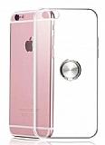 Eiroo Ring Crystal iPhone 6 / 6S Silver Yüzüklü Silikon Kılıf