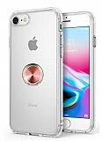 Eiroo Ring Crystal iPhone 7 / 8 Rose Gold Yüzüklü Silikon Kılıf